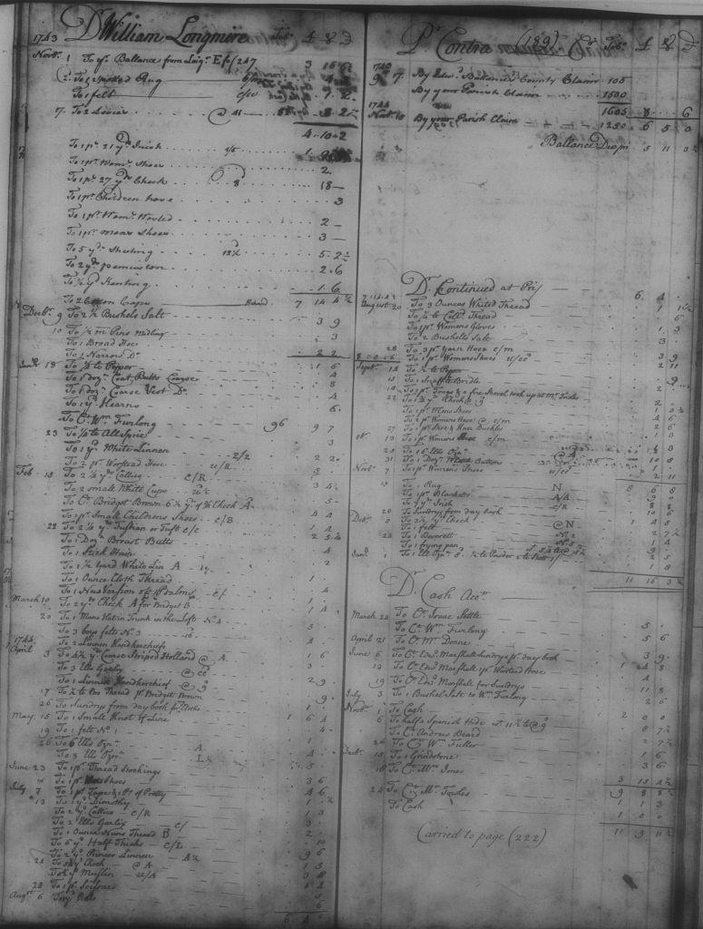 William's store account 1743